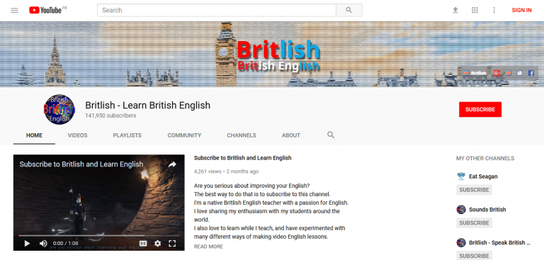 Britlish learn youtube channel