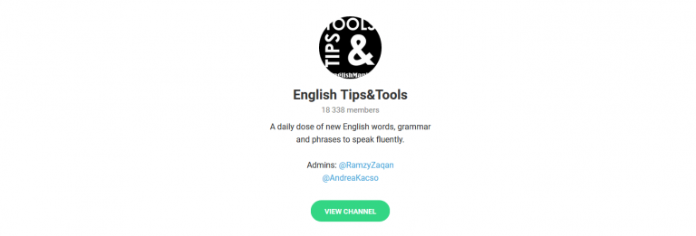English tips and tools in telegram