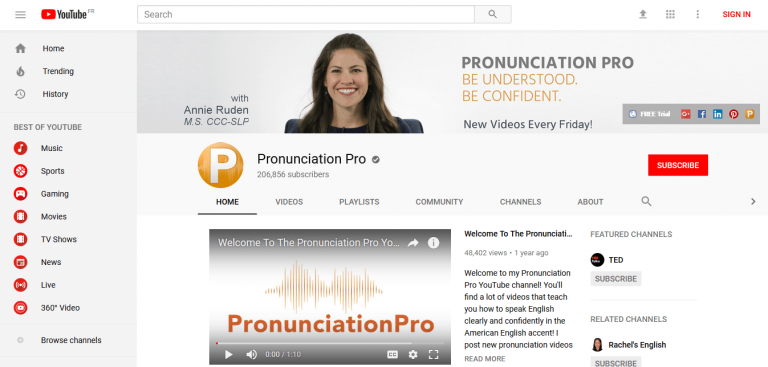 Pronunciation pro youtube channel