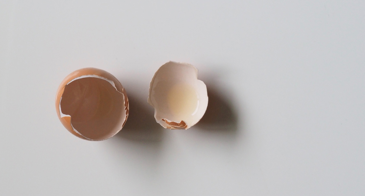 Two pieces of empty eggshell lying on a white table.