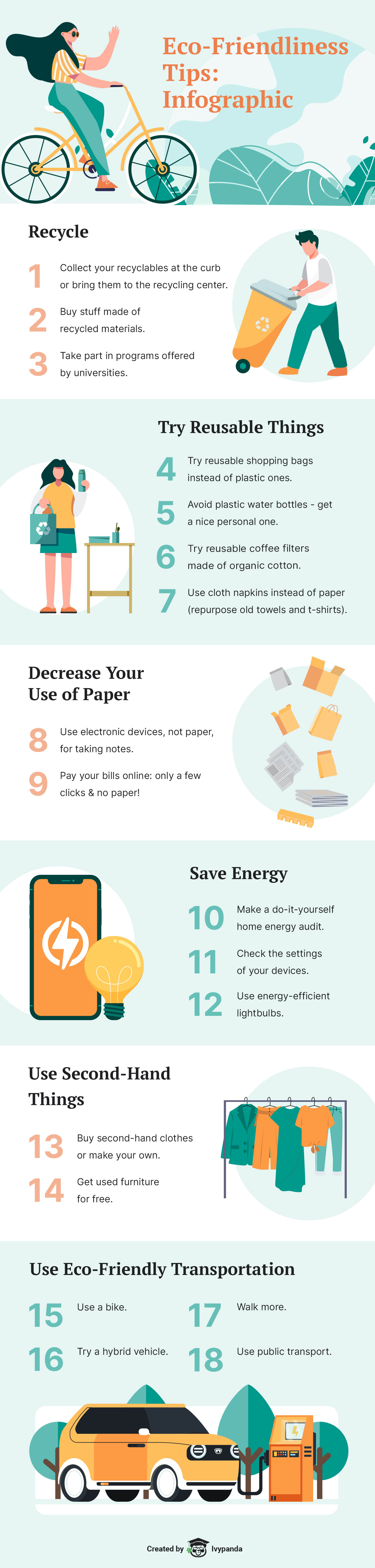 The infographic contains 18 easy tips on becoming more sustainable & eco-friendly.