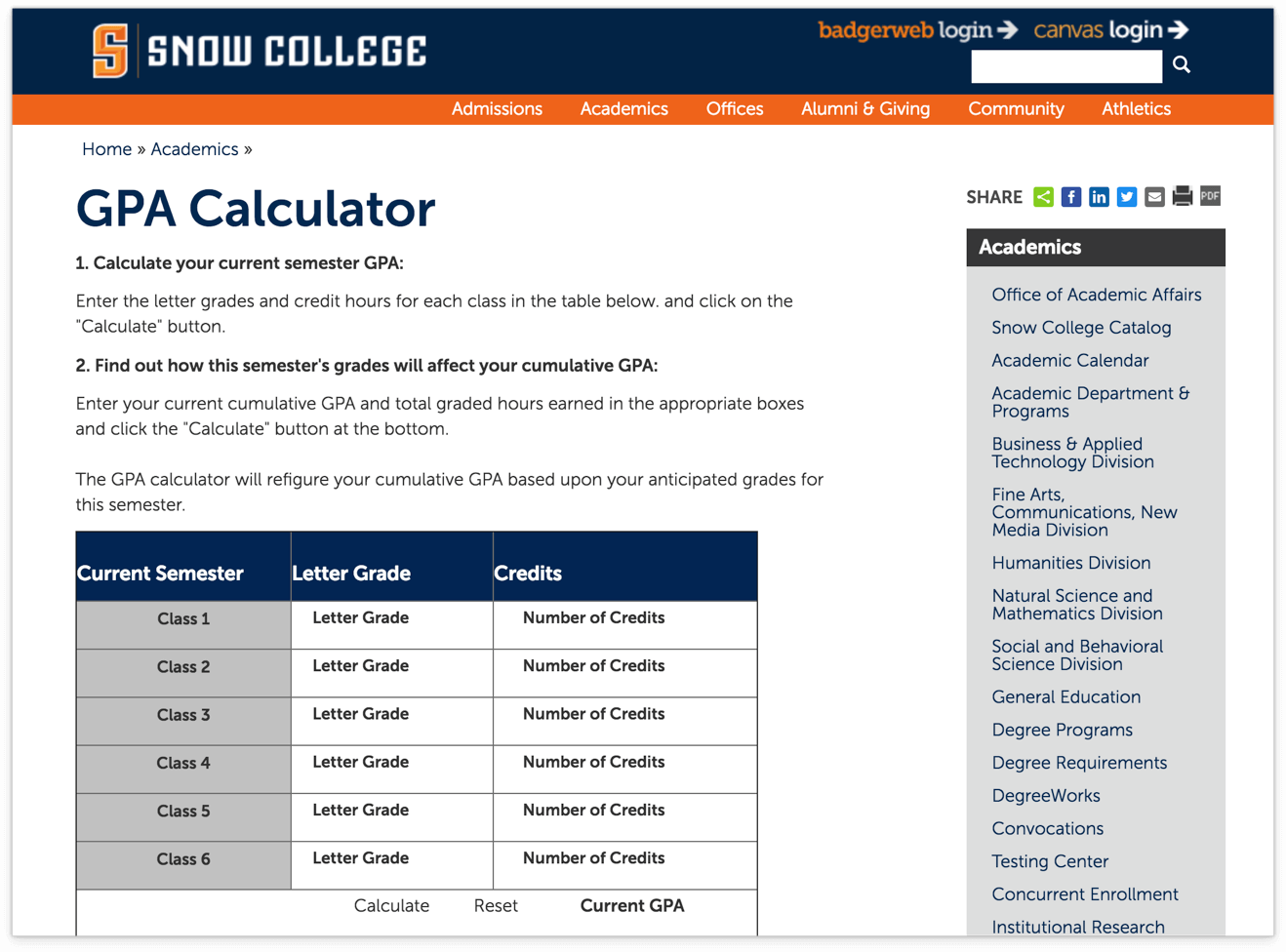 this website combines gpa calculation tool with the table for converting letters grades to points