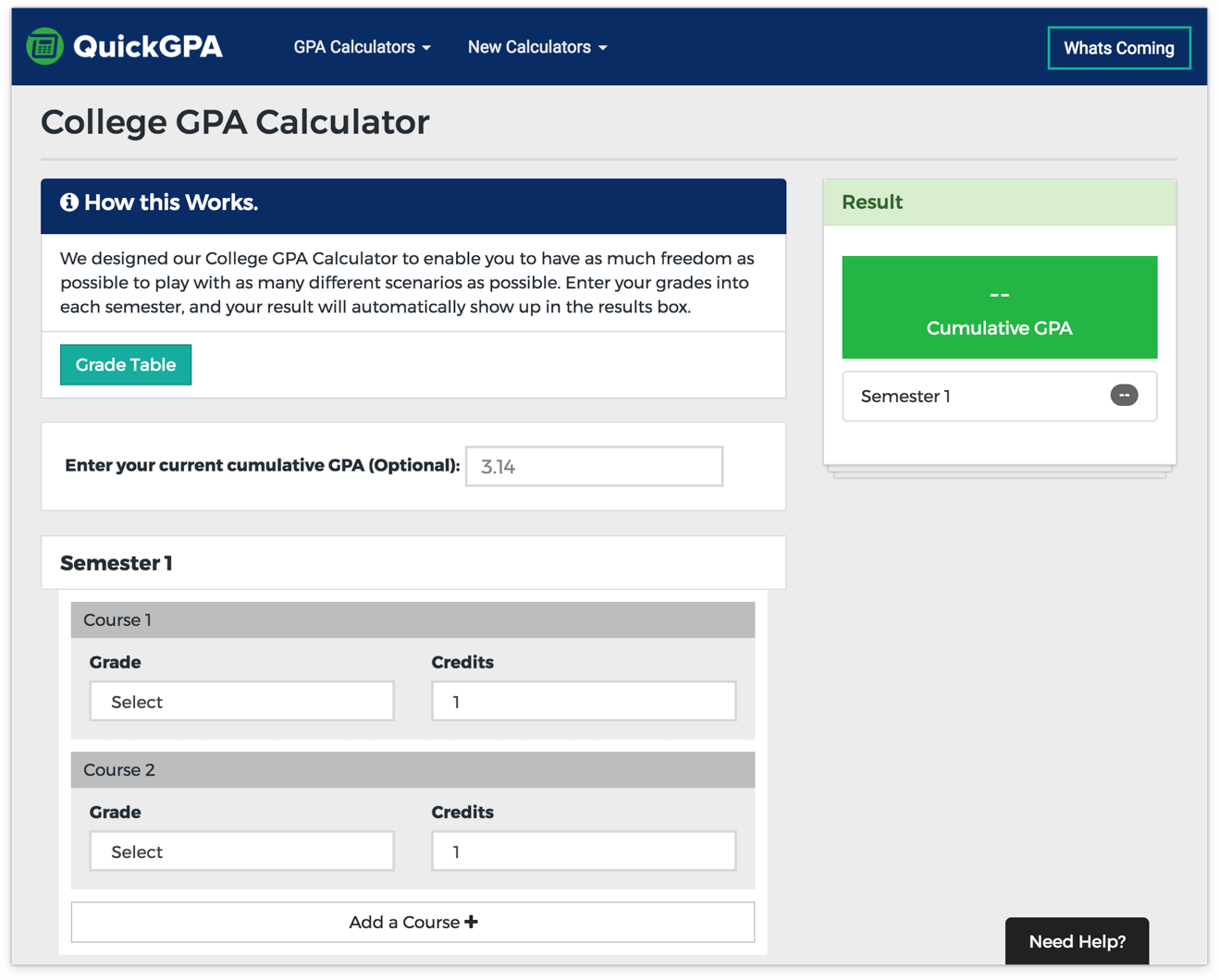 free online high school gpa calculator