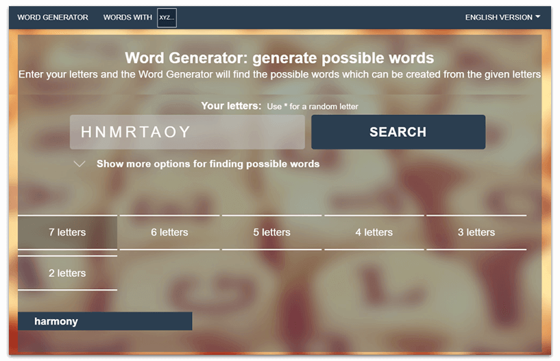 word generator with certain letters